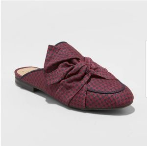 Shoes - NEW Backless Mules Preppy Bow Red Maroon Shoes